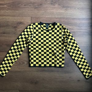 Cropped Long Sleeve Sweater Racecar Checkered L